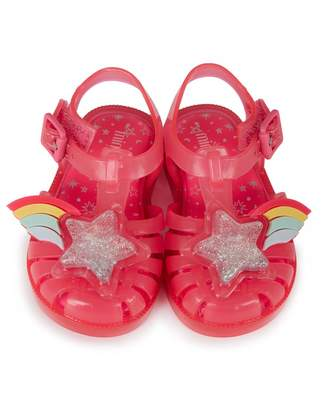 Mini Melissa Mini Rainbow Sprite T Bar Sandals Colour: BRIGHT PINK, Si