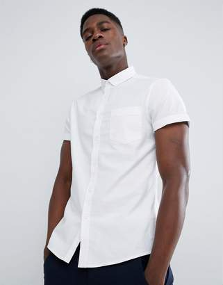 Asos DESIGN casual slim fit oxford shirt in white