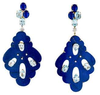 Lapis Helen Yarmak and Topaz Drop Earrings