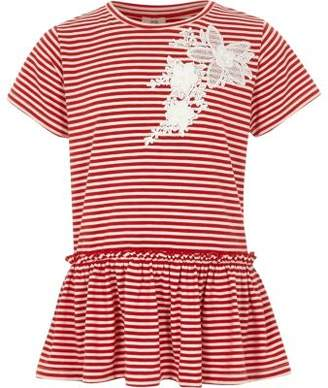 River Island Girls red stripe lace applique frill T-shirt