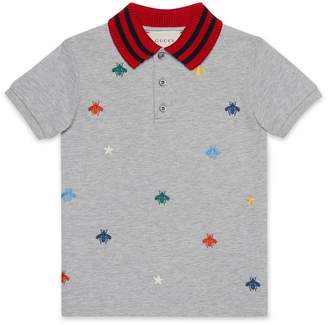 Gucci Children's polo with bees and stars embroidery