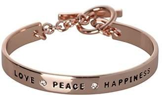 BCBGeneration BCBG Generation Silver Crystal Love Peace Happiness Cuff Bracelet