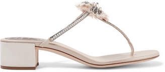 Rene Caovilla Embellished Leather Sandals - Beige