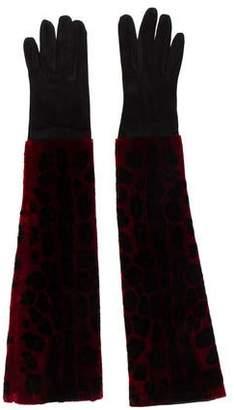 Dolce & Gabbana Velvet & Suede Long Gloves