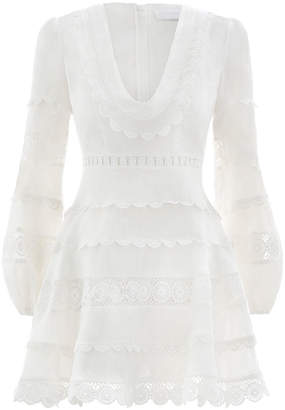 Zimmermann Castile Plunge Short Dress