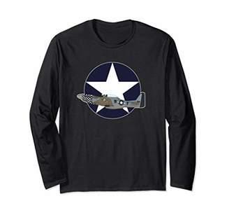 Mustang P51 Military Warbird WWII Long Sleeve T Shirt