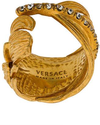 Versace embellished leaf ring