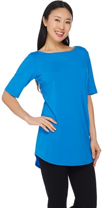 Joan Rivers Classics Collection Joan Rivers Jersey Knit Long Tee Shirt with Shirt Tail Hem