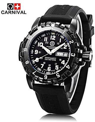 Carnival 8621G 腕時計 クオーツ ウォッチ アナログ表示 スタンダード カレンダー 20ATM防水 トリチウムガス自発光 スイス Movt