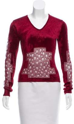 Christian Dior Textured Long Sleeve Top