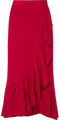 ADAM by Adam Lippes Ruffled Silk-crepe Wrap Skirt - Red