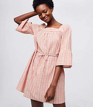 LOFT Beach Shimmer Stripe Criss Cross Dress
