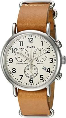 Timex 'Weekender Chrono' Quartz Brass and Leather Casual Watch