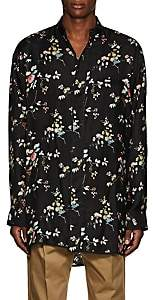 Haider Ackermann Men's Floral Polished Twill Pajama Tunic - Black