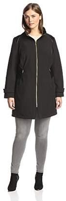 Via Spiga Plus Women's Soft Shell Coat with Faux Leather Detail
