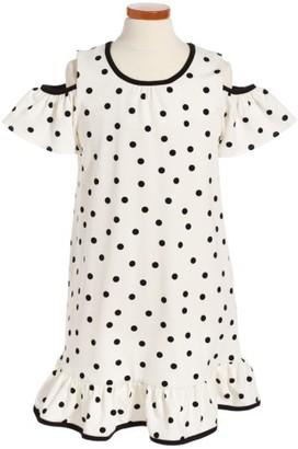Girl's Kate Spade New York Polka Dot Cold Shoulder Dress $98 thestylecure.com