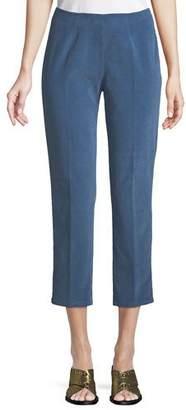 Piazza Sempione Audrey Side-Zip Straight-Leg Corduroy Capri Pant
