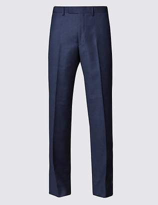 Savile Row Inspired Blue Tailored Fit Wool Trousers