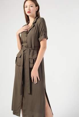 Azalea Button Down SS Midi Waist Tie Dress