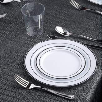 Kaya Collection - White and Silver Disposable Plastic Dinnerware Party Package - Includes Dinner Plates, Salad/Dessert Plates, Silver Cutlery, Tumblers (120 Person Package)