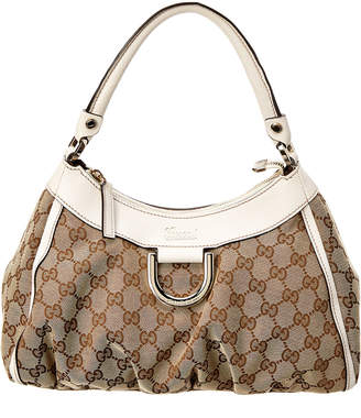 Gucci Brown Gg Supreme Canvas & White Leather Hobo Bag