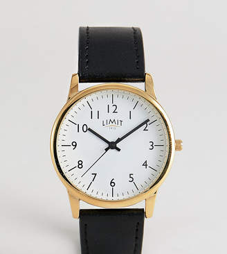 Faux Leather Watch In Black Exclusive To ASOS 38mm