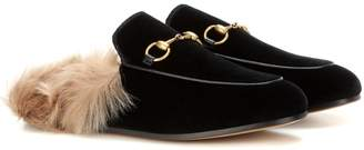 Gucci Princetown fur-lined velvet slippers