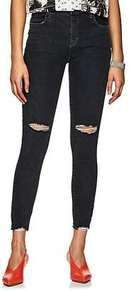 J Brand Women's Alana Shredded High-Rise Crop Jeans - Gray