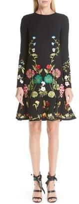 Oscar de la Renta Garden Embroidery Ruffle Hem Stretch Wool Dress