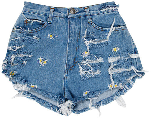 Singer22 RUNWAYDREAMZ Vintage Frayed Flower Short