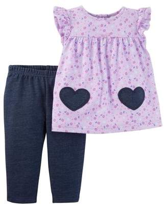 Carter's Child of Mine by Toddler Girl Short Sleeve Tunic & Leggings, 2pc Outfit Set
