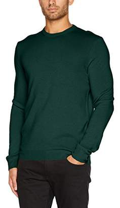 Benetton Men's Sweater Longsleeve Sweatshirt, (Green 17g), Large
