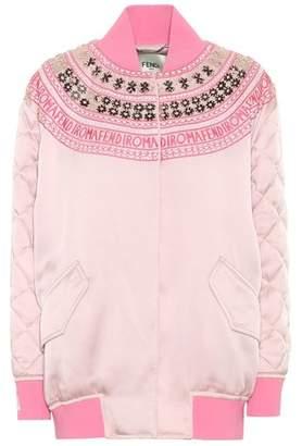 Fendi Exclusive to mytheresa.com – embellished satin bomber jacket