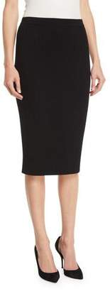 St. John Flat Rib-Knit Pull-On Knee-Length Skirt