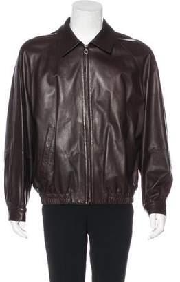Salvatore Ferragamo Collared Leather Jacket