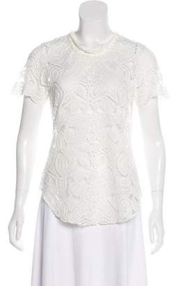 L'Agence Crochet Short Sleeve Top