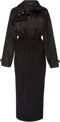 Brandon Maxwell Cinched Tuxedo Satin Jacket Dress
