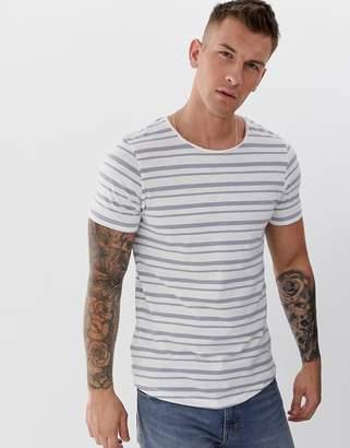 Jack and Jones longline stripe t-shirt in white