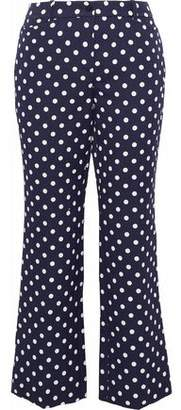 Michael Kors Cropped Polka-Dot Cotton And Silk-Blend Straight-Leg Pants