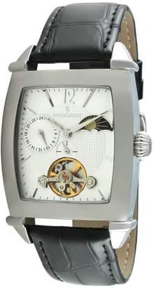 Peugeot Men's MK901S Automatic Sun Moon Black Leather Watch