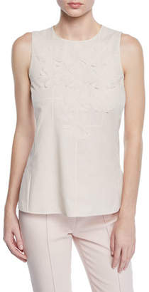 Akris Sleeveless Round-Neck Floral-Embellished Cotton Voile Blouse