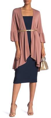Lumie Solid Flared Sleeve Hi-Lo Duster