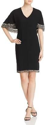 Elie Tahari Merci Beaded-Trim Cape Dress