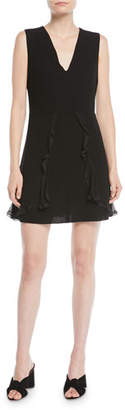 See by Chloe V-Neck Sleeveless A-Line Mini Dress w/ Ruffled Trim