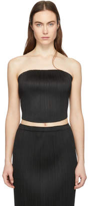 Pleats Please Issey Miyake Black Pleated Cropped Tube Top
