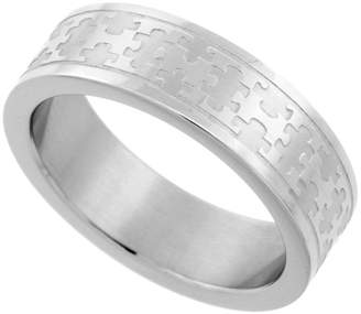 Sabrina Silver Surgical Steel 6 mm Autism Awareness Jigsaw Puzzle Wedding Band Ring, size 5.5