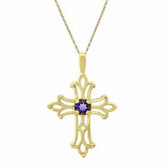 Zales Amethyst Birthstone Cross Pendant in 10K Gold