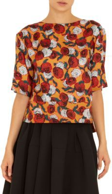 Marni Floral Print Short Sleeve Flare Back Top