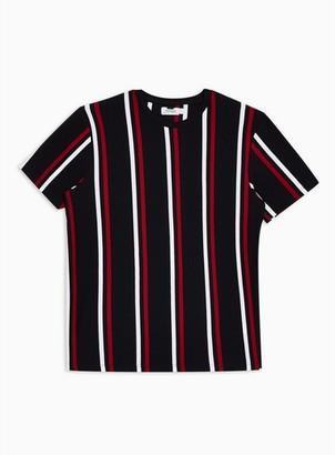 Topman Mens Navy Striped T-Shirt