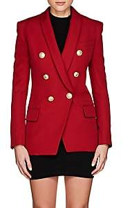 Balmain Women's Wool Gabardine Double-Breasted Blazer - Red